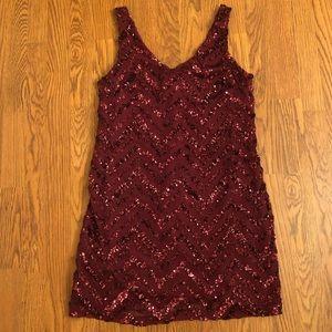 BB Dakota   Bordeaux Sequins Chevron Dress